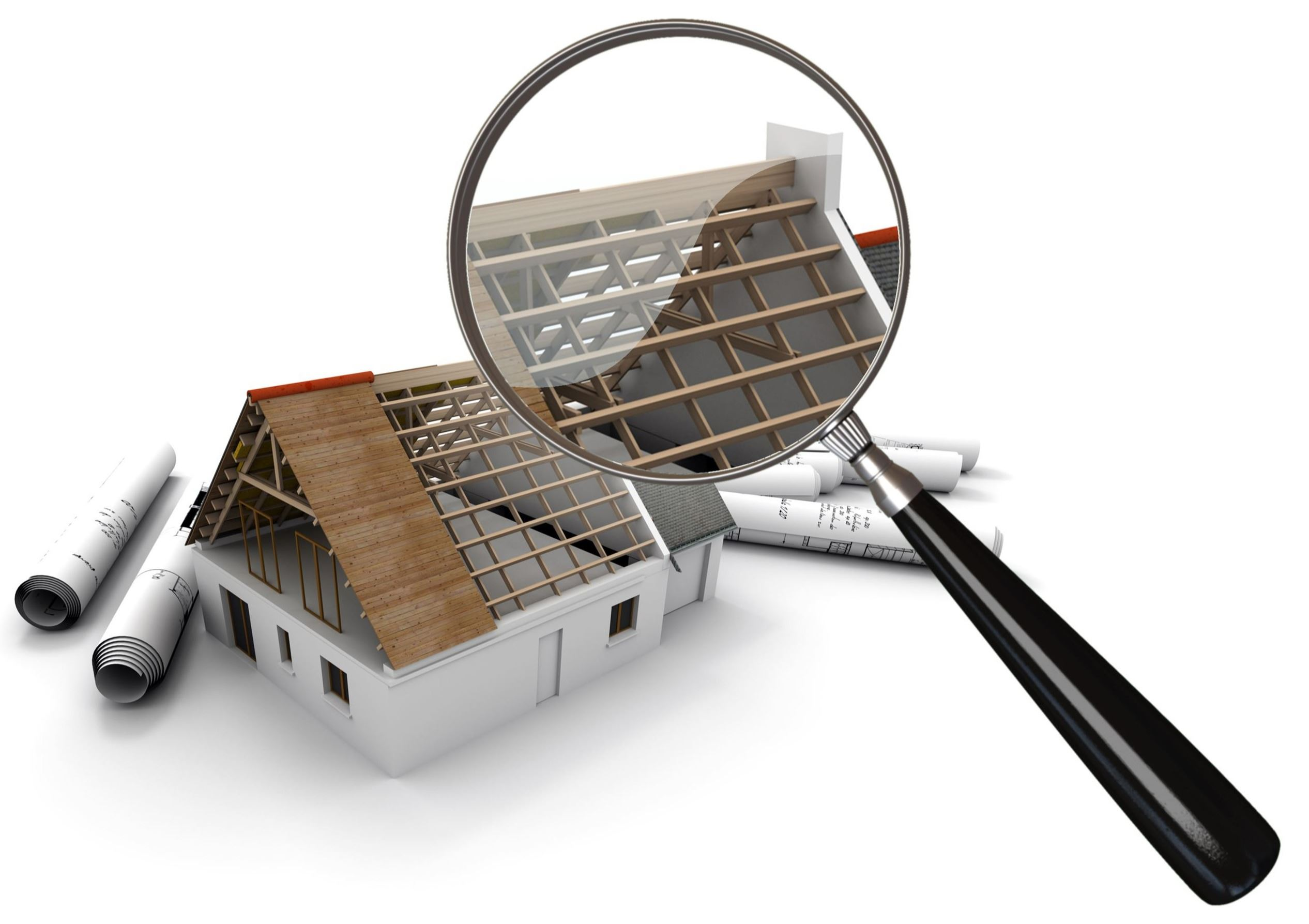Image of a house under construction, surrounded by plans, under a magnifying glass